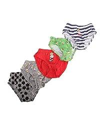 Childrens/Boys Football/Star Design Cotton Briefs (Pack Of 5)