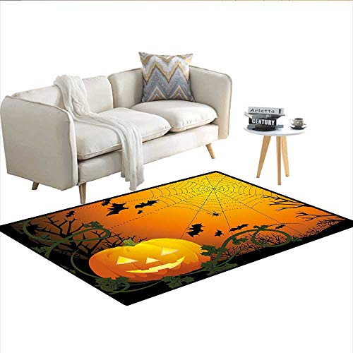 Rug,Halloween Themed Composition with Pumpkin Leaves Trees Web and Bats,Floor Mat for Kids,Orange Dark Green Black 36