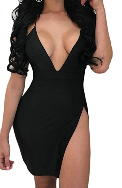fc2e56fc172 M S W Women s Low-Cut Deep V-Neck Sexy Mini Backless Spaghetti Strap Club  Slit Dress at Amazon Women s Clothing store