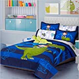 LIMITED EDITION DRAGON KIDS BOYS REVERSIBLE COMFORTER SET,SHEET SET AND WINDOWS PANELS 10 PCS TWIN SIZE