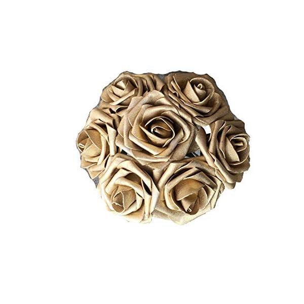50 pcs Artificial Flowers Foam Roses for Bridal Bouquets Wedding Centerpieces Kissing Balls (Copper Gold)