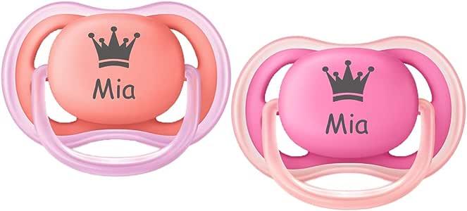 Avent Chupete con nombre de princesa/corona (Maedchen) – 2 chupetes con nombre en tamaño 1 (0 – 6 meses) o tamaño 2 (6 – 18 meses) rosa rosa/naranja Talla:M: Amazon.es: Bebé