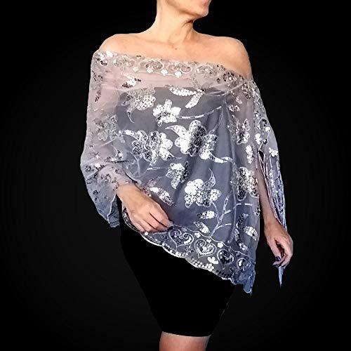 Silver Sequin Shawl Grey Wedding Wrap Chiffon Stole By ()