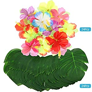 198 Pieces Hawaiian Party Decorations Set Including 2 Tissue Paper