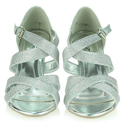 Tacón Boda Señoras Prom Zapatos Briller Mujer Noche Correas Alto Plateado Fiesta Talla Plataforma Sandalias AUpBgqx