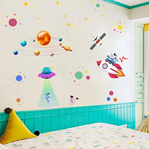 Planets Space Rocket UFO Kids Wall Decals Wall Stickers Removable Solar System Watercolor Space Wall Stickers for Wall Decor for Boys Room Art