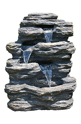 "24"" Rock Waterfall Garden Fountain w/LED Lights: Perfect Garden Water Feature, Patio Fountain, Outdoor Fountain. Features Elegant Waterfall Flow - ✔ DIMENSIONS: 24"" Tall x 19"" Wide x 13"" Deep - WEIGHT: 22lbs - COLOR: Slate ✔ QUICK AND EASY out of the box set up - Perfect water feature for outdoor, gardens, backyards, decks, patios and porches ✔ DURABLE light-weight cast resin and fiberglass water fountain - Individually hand finished by skilled artisans - patio, outdoor-decor, fountains - 512sBLzbUtL -"