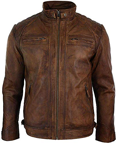 (King Leathers Men's Leather Jacket Motorcycle Bomber Biker Real Lambskin Leather Distress Brown Vintage Jacket for Men MJ07)