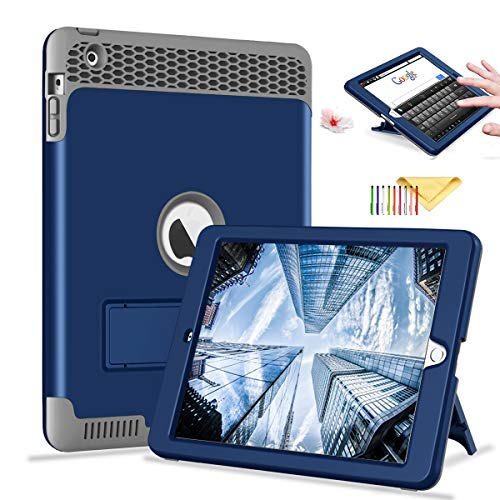 iPad 4 3 2 Case, Cookk [Honey Comb Series] [Kids Friendly] Heavy Duty Magnetic Stand 3-in-1 Shockproof Hybrid Protective Cover for iPad 4th 3rd 2nd Gen, Darkblue