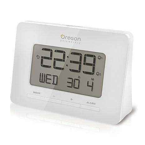 Oregon Scientific RM938-W - Reloj de sobremesa, radio controlado, con alarma,