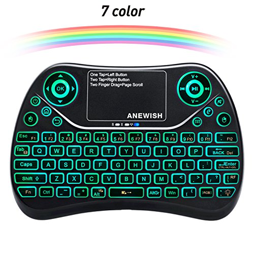 A-NEWISH 2.4GHz RF Wireless Mini Keyboard with Touchpad Mouse Combo, Rechargable & Light & Handheld Smart Remote for Google Android TV Box,PS3,PC,PAD (T2-COLOR) (Mini Wireless Usb Keyboard Rf)