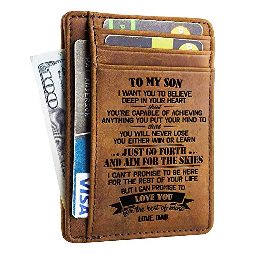 Wallets Gift for son from Dad Slim Wallet Cowhide wallet RFID Front Pocket Wallet - I Love You For The Rest Of Mine (From Dad)