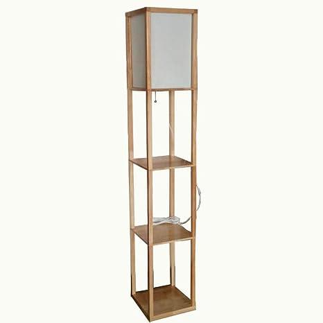 Modern LED Decorative Wooden Loft Floor Lamp Black White ...