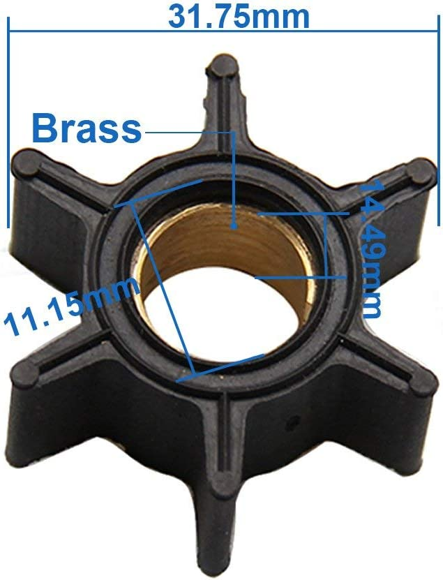 CarBole Impeller for Mercury Mariner 3.5HP 3.6HP 4HP Outboard Motor Compatible Part Number 47-89980 47-68988 18-3054