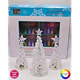 Set of 3 Clear Acrylic Christmas Trees with Color Changing LED Lights from Suzy's Home collection, Includes two 6-in trees and one 8-in tree.