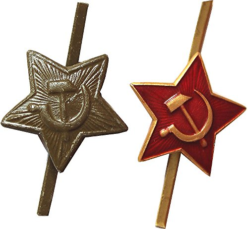 Set of 2 Soviet Military Cap Badges-Red Stars with Hammer and Sickle