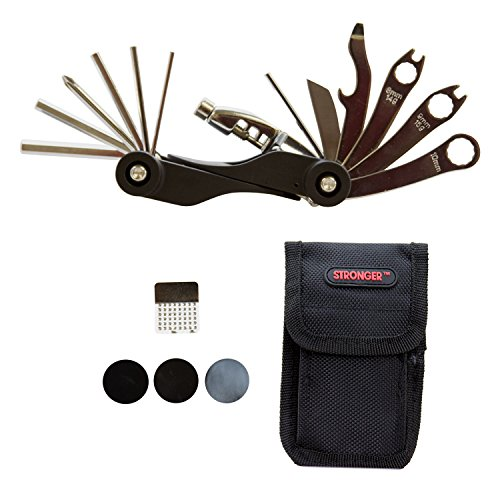 "Strongrr Multi Bike Tools 20 Functions for NEW Adjustable Black Aluminum Frame 29"" High Wheel Schwinn Timber Mountain Bike with Tire Patch Nylon Bag Cycling Maintenance Repair Tool Kit -  LOHAS FARMS, LF-TK-BK1005-K00951"