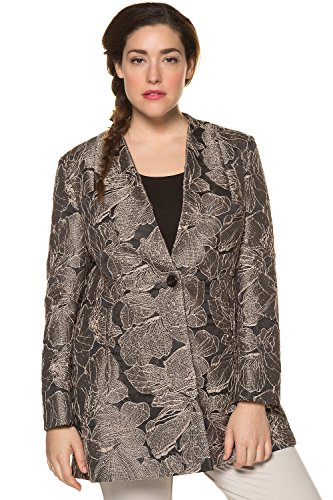Ulla Popken Women's Plus Size Elegant Jacquard Design Blazer Black 12 713810 10