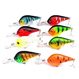 Isafish Bass Lures Crankbait Pack of 8pcs Deep Fishing Lures Trout Crank Bait Tackle 3.7 Inch/0.4 Ounce