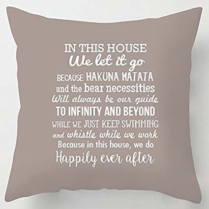 sports shoes free shipping entire collection Artylicious In this House we do Disney inspired quotes word art scatter  CUSHION STONE