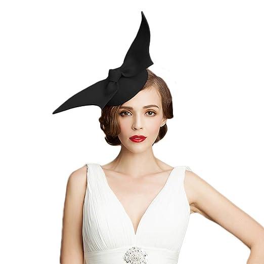 674314d440a Women Fascinator Derby Wedding Pillbox Hats Vintage Woollen Felt Bow Party  Hat at Amazon Women s Clothing store