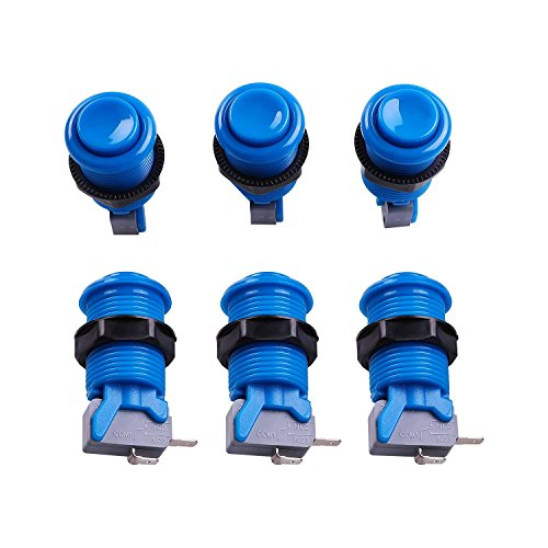 Reyann 6x Blue Happ Style Standard Arcade Push Button with Microswitch for Mame, Jamma, Arcade Video Games