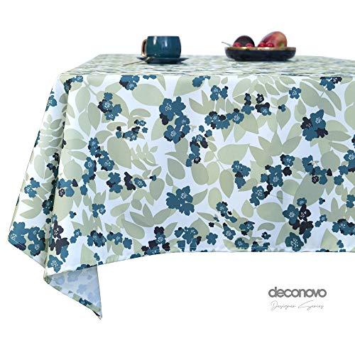 Deconovo Manteles Mesa Cocina Efecto Lino Impermeable Antimanchas Moderno 130x130cm Azul Claro