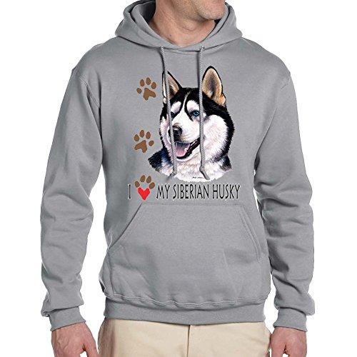 Adult's I love my Siberian Husky Dog Sport Grey Hoodie