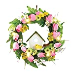 Spring-Front-Door-Wreath-Decoration-with-Tulips-Birdhouse-Lights
