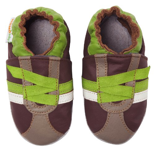 Momo Baby Infant/Toddler Z-Strap Sneaker Brown Soft Sole Leather Shoes - 0-6 Months/1-2.5 M US Infant