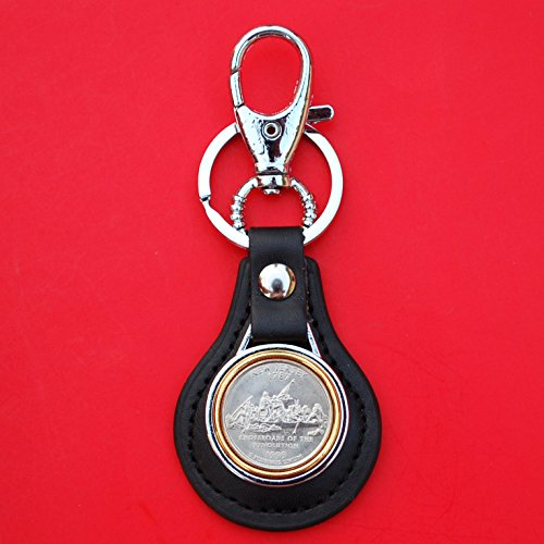 US 1999 New Jersey State Quarter BU Uncirculated Coin Gold Silver Two Tone Leather Key Chain Ring NEW