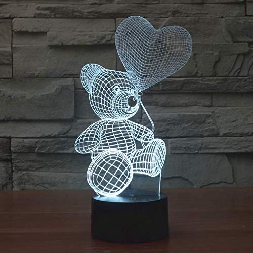 3D L/ámpara lampara de ilusion /óptica Oso de peluche de globo de Mesa Luz iluminaci/ón 7 Colores de Control Remoto con Acr/ílico Plano /& ABS