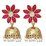 The Jewelbox Reddish Pink Floral 22K Gold Plated Jhumki Earring For Women