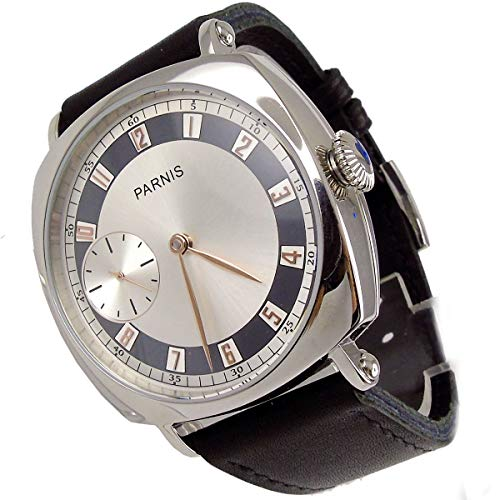Parnis 44mm Silver Dial Rose Golden Pointer Seagull 17 Jewels 6497 Hand Winding Movement Men's Watch