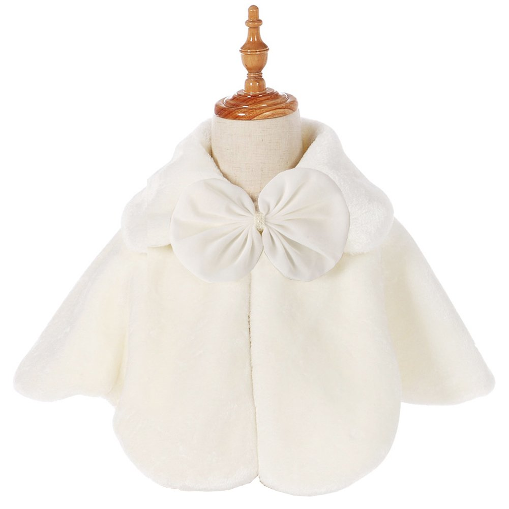 FAYBOX Cozy Faux Fur Flower Girl Bolero Shrug Accessories Princess Cape (S, Ivory Style C) CAHTS10011-S