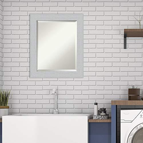 Framed Vanity Mirror | Bathroom Mirrors for Wall | Shiplap White Mirror Frame | Solid Wood Mirror | Small Mirror | 24.25 x 20.25