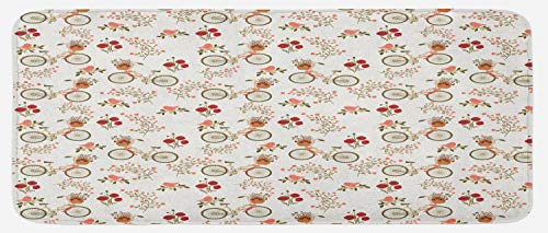 Ambesonne Floral Kitchen Mat, Nostalgic Romance with Bikes Baskets Full of Poppy Flowers Baskets Love Birds Spring, Plush Decorative Kithcen Mat with Non Slip Backing, 47 W X 19 L Inches, Multicolor