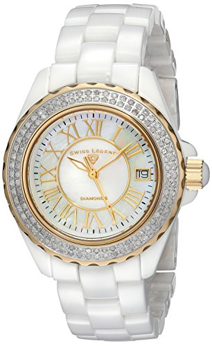 "Swiss Legend Women's 20051-WWWGR ""Karamica"" Diamond-Studded Ceramic Watch with Link Bracelet"