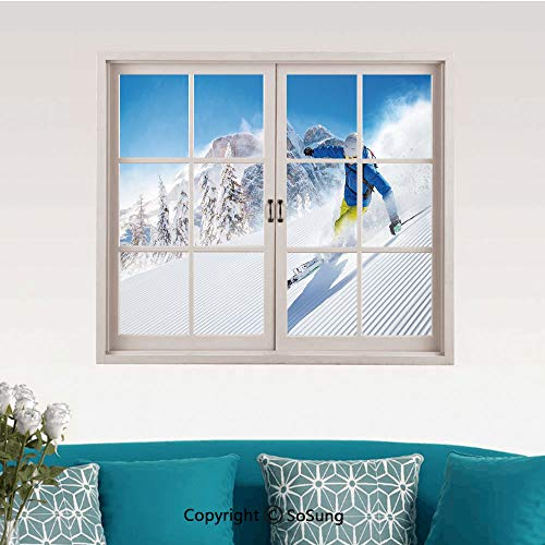 - Winter Removable Wall Sticker/Wall Mural,Skier Skiing Downhill in High Mountains Extreme Winter Sports Hobbies Activity Decorative Creative Close Window View Wall Decor,24