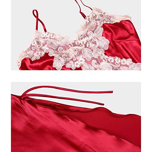 Del La Atractivo Mujeres Red Las Honda Verano Dormir Camisón Vestido De Lujo Ropa Interior vCvpRq