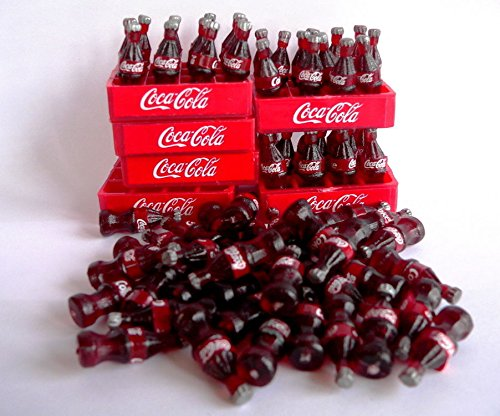 Miniature Cola Coca Bottles (Coca Cola Soft Drink Coke Soda Bottle And Tray Set Dollhouse Miniature (6 Set))