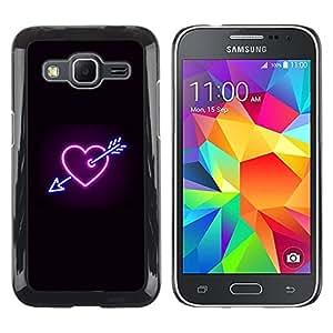 TECHCASE**Cubierta de la caja de protección la piel dura para el ** Samsung Galaxy Core Prime SM-G360 ** Heart Neon Black Heartbreak Sign Cool