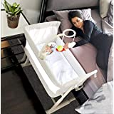 Baby Bassinets – Adjustable and Easy to Assemble Bassinet for Baby, Lightweight Baby Bassinet and Bedside Sleeper for Safe Co