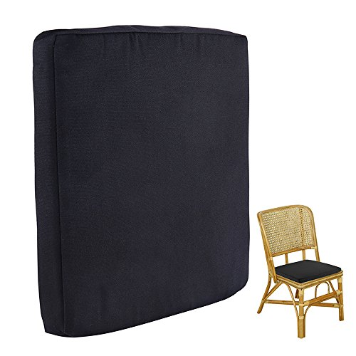 Chair Garden Pad (Peiosendor Waterproof Removable Cover Outdoor Chair Cushions Patio Seat Pads Mat Comfort Foam Nonslip For Outdoor Garden Deck Picnic Beach Pool 14inch (Black))