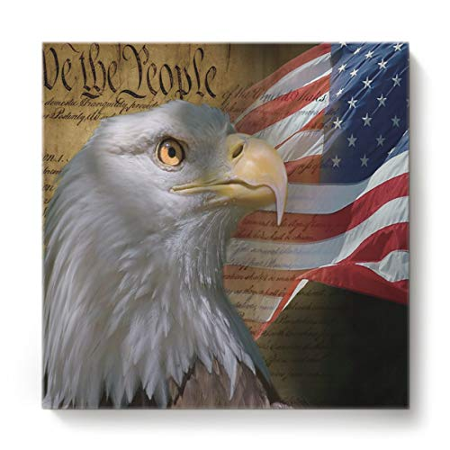 Twig Votive - EZON-CH Canvas Wall Art Square Oil Painting Modern Artworks Office Home Decor,3D Elag Animal The Flag of American Canvas Artworks,Stretched by Wooden Frame,Ready to Hang,16 x 16 Inch