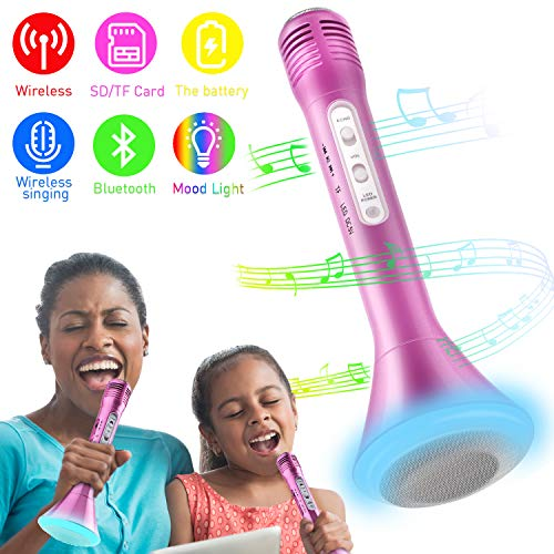 Wireless Karaoke Microphone, Kids Microphone with Bluetooth Speaker, Karaoke Mic Portable Karaoke Player Machine for Girls Boys Home Party Music Singing Playing
