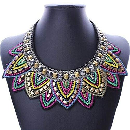 Bib Beaded Crystal Chunky Pendant Statement Necklace Choker Chain Jewelry