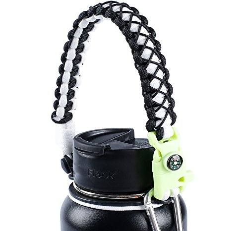 QeeLink Handle for Hydro Flask - Secure Design - Wide Mouth Water Bottles Carrier - Includes Paracord Survival Strap with Compass Fire Starter Whistle - Perfect For Outdoor Bottle Carrier (White)
