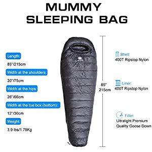 Anyoo Mummy Goose Down Sleeping Bag Ultralight Portable 3 Season for Backpacking Hiking Camping Indoor & Outdoor Use for Adult