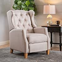 Gondor Fabric Tufted Wingback Recliner (Medium Beige Fabric)